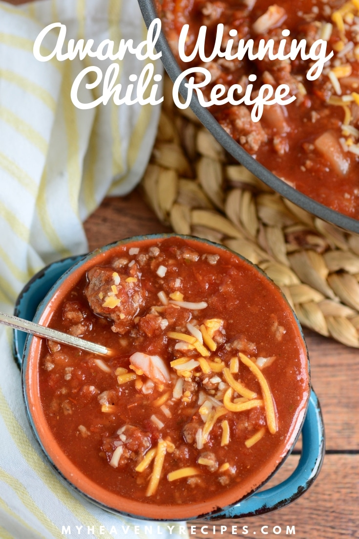 This recipe for My Award Winning Chili recipe and it is a major favorite around here! It's a thick, warming chili made with ground beef, onions, tomato and just the right amount of kick. #myheavenlyrecipes #chili #chilirecipes #comfortfood