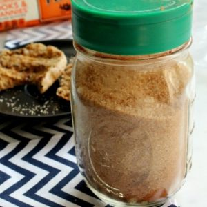 Cinnamon Sugar Mixture in mason jar with english muffins