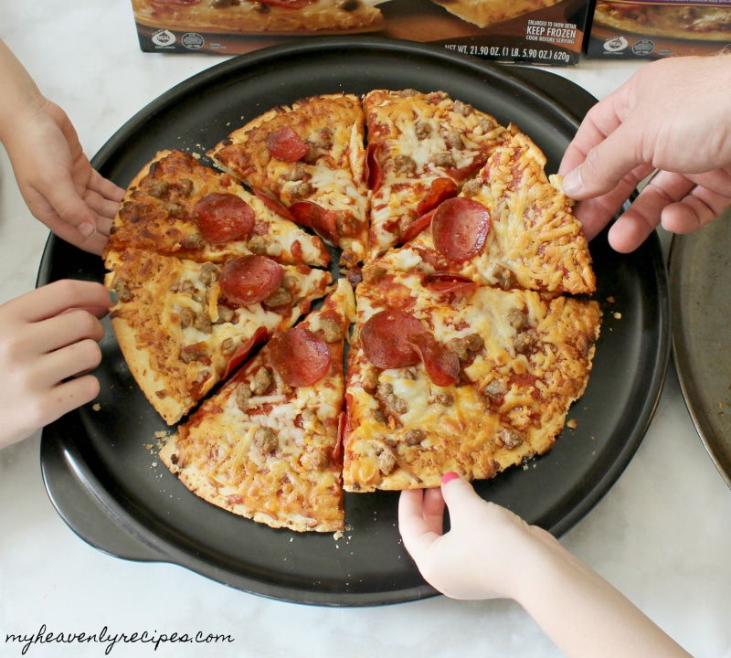 The entire family can serve themselves when we conquer mealtime together with Red Baron Pizza.