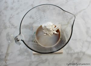 pumpkin coffee cake glaze in mixing bowl