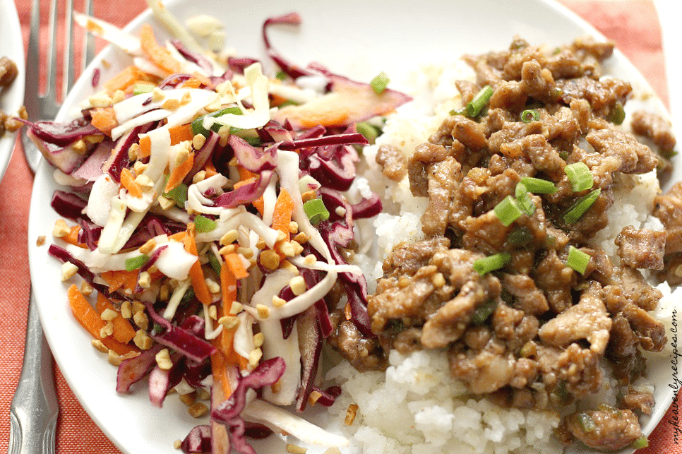 This Spicy Lemongrass Pork is packed full of flavor. Oh and not to mention there's no measuring, cutting and on the table in 20 minutes!