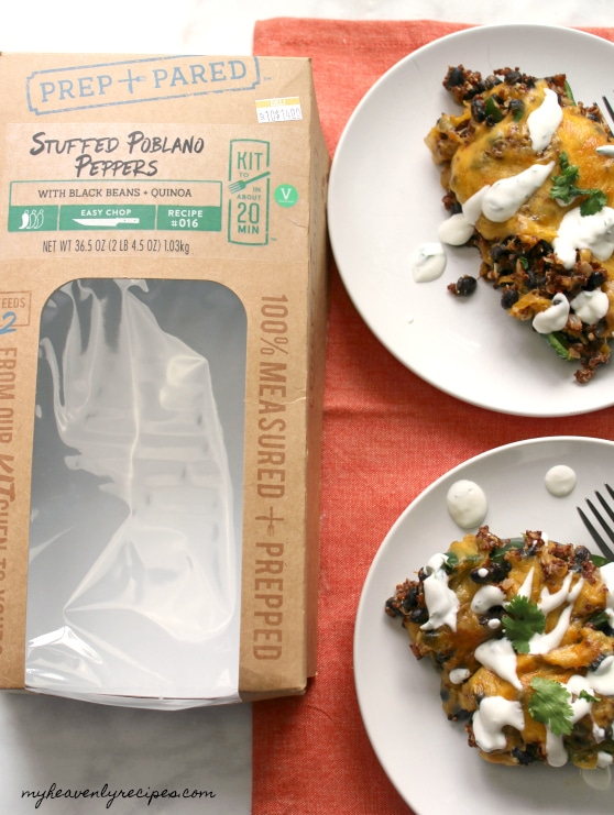 Grab a Prep+Pared Kit from Kroger. This Stuffed Poblano Peppers with Black Beans and Quinoa are delicious and on the table in 25 minutes!