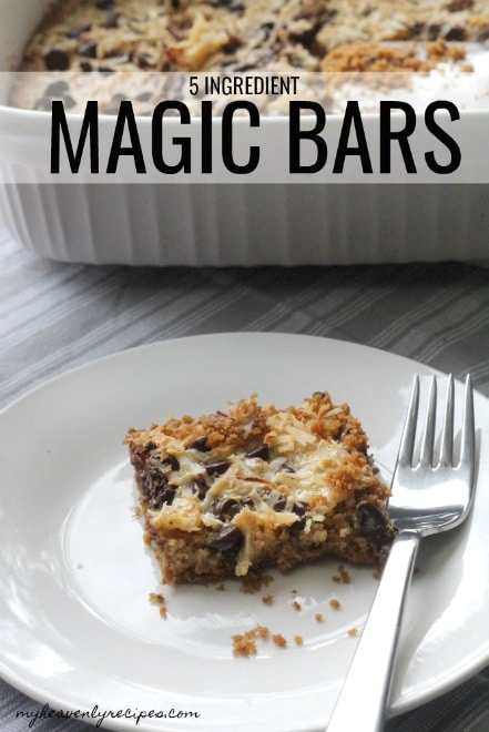 Magic Bars are super simple to make at home! With just 5 minutes and 45 of time you'll make 18 people happy!