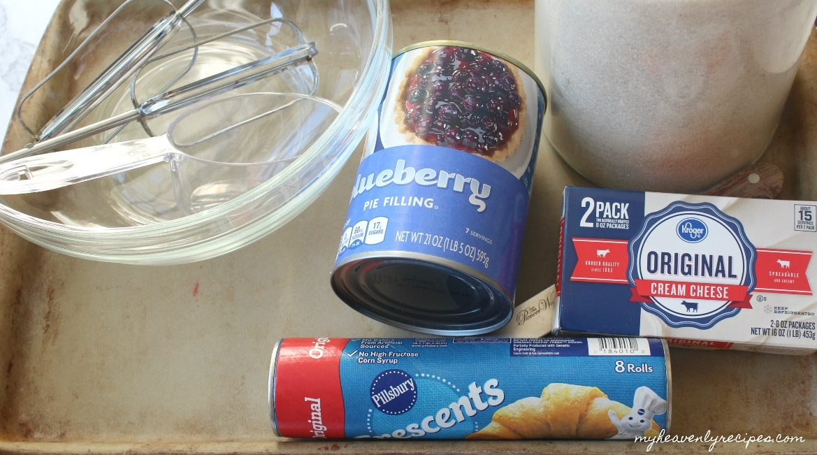 The ingredients for my Blueberry Cream Cheese Danish are simple and uses cheats from the grocery store!