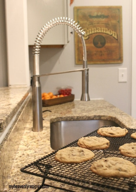 The Grohe K7 Faucet had my kitchen clean from all the baking of these Bakery Style Chocolate Chip cookies in under 20 minutes.