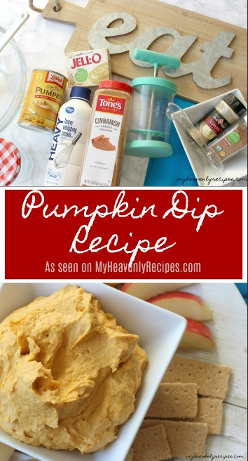 titled photo collage (and shown): pumpkin dip recipe (and ingredients to make it)