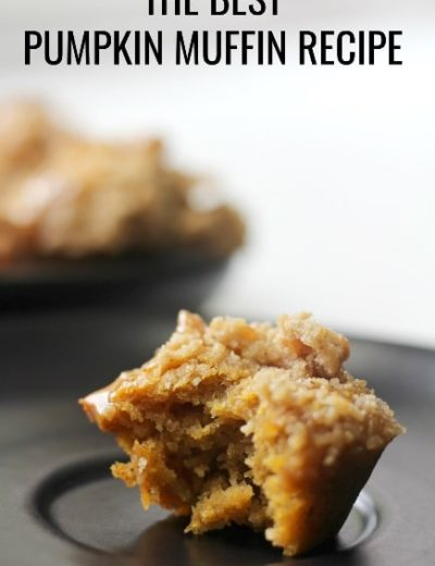 titled image (and shown) The BEST Pumpkin Muffin Recipe (pumpkin muffin with streusel on black plate)