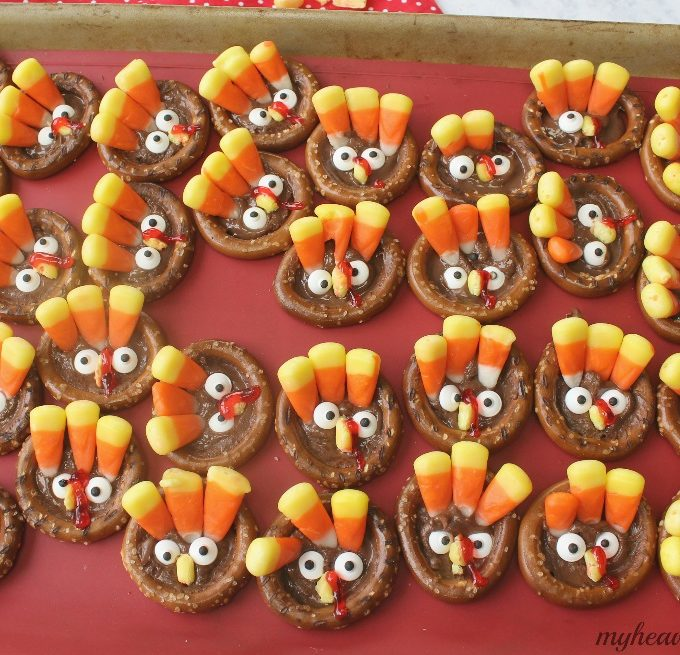 Grab the kids and let them create their very own Turkey Pretzels! They'll have fun doing it.