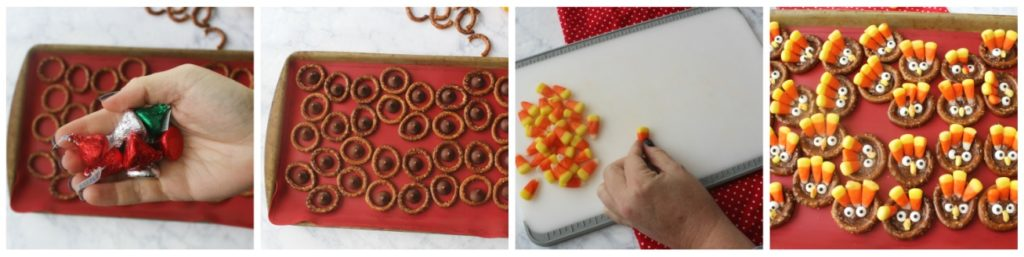 Step by Step photos on how to make Turkey Pretzels