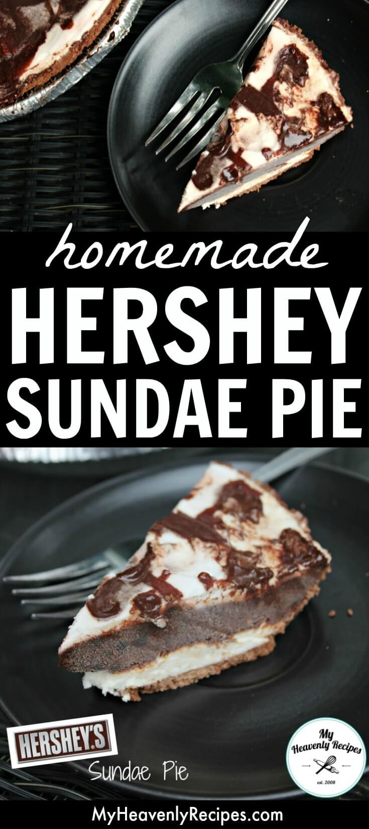 Homemade Hershey Pie + Recipe Video - Want an amazing dessert recipe? This homemade copycat Hershey Sundae Pie is the perfect recipe to make! It's an easy and delicious dessert your whole family will love. #MyHeavenlyRecipes #Chocolate #NoBakeDesserts #CopyCatRecipes #PieRecipes