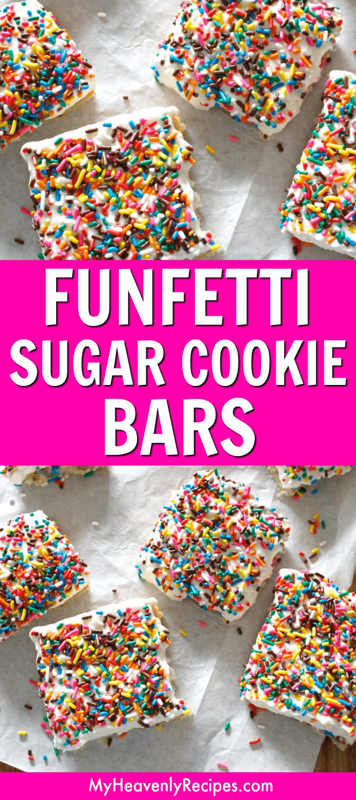 Looking for a fun and easy dessert recipe? You'll love these Funfetti Sugar Cookie Bars! A layer of delicious sugar cookie dough topped with Funfetti sprinkles and divine whipped icing – dessert perfection. #sugarcookies #sugarcookiebars #funfetti