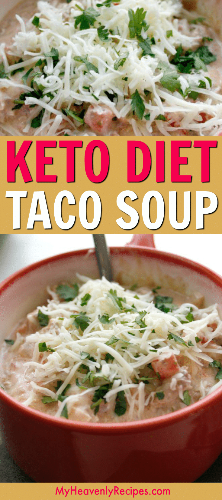 Looking for a delicious and EASY to make low-carb recipe? Try this LOW-CARB Taco Soup is thick, creamy, and so good. Make it on the stove or make it into a crock pot recipe! Perfect for the keto diet too. #lowcarb #keto #tacosoup #souprecipes #lowcarbtacosoup