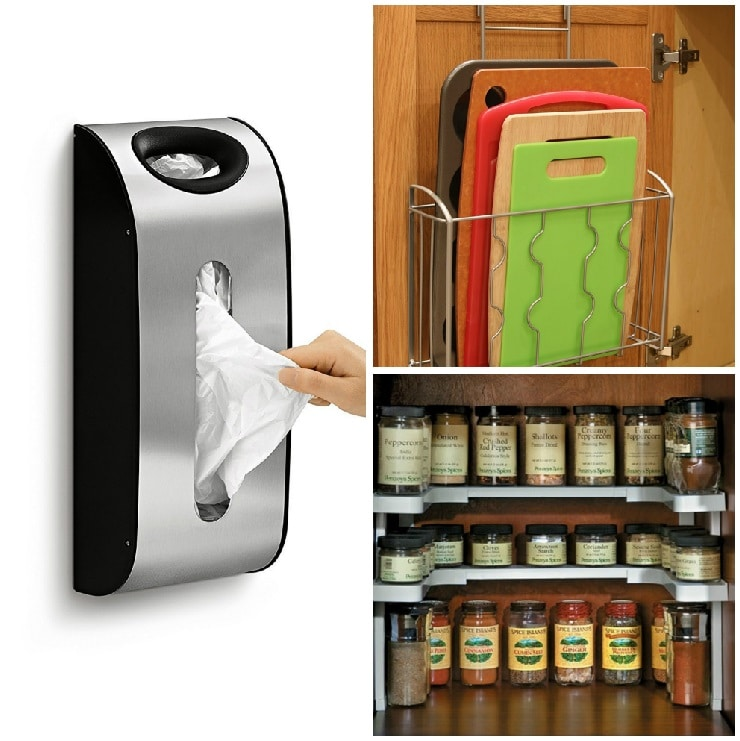 3 products to organize kitchen images grocery bag holder, cutting board for inside cabinet storage and extra shelf in pantry