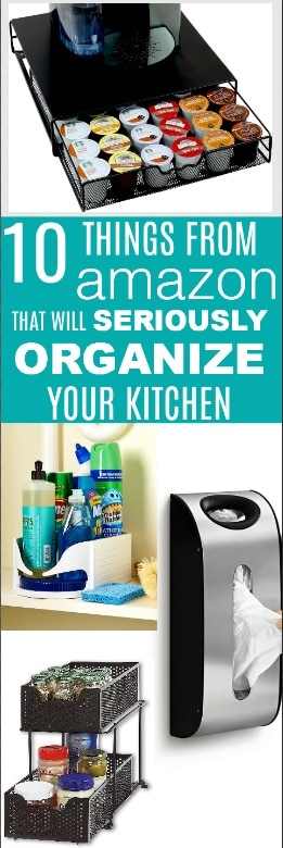 Spring cleaning is amongst us and I don't know a better feeling that having your kitchen organized! Get started now with these 10 things from #amazon that will seriously organize your kitchen in no time at all while still being affordable and super functional! #organize #springcleaning #kitchen #DIY