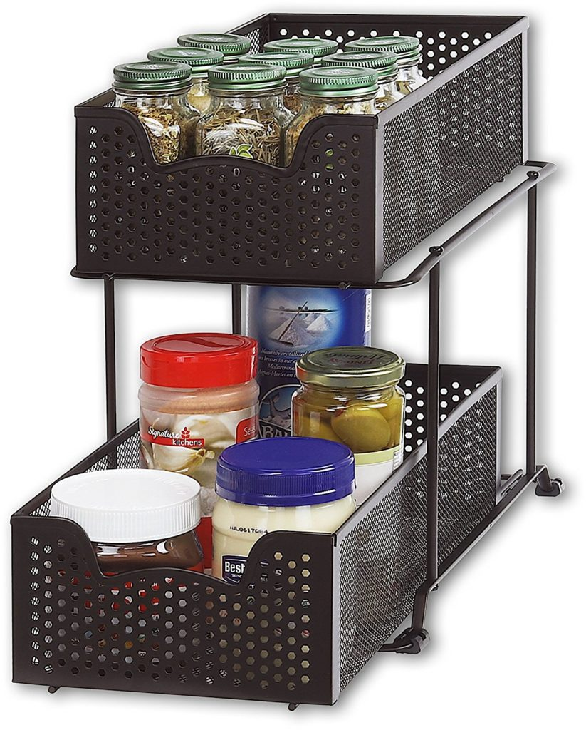 2 Tier Sliding Cabinet Basket Organizer Drawer