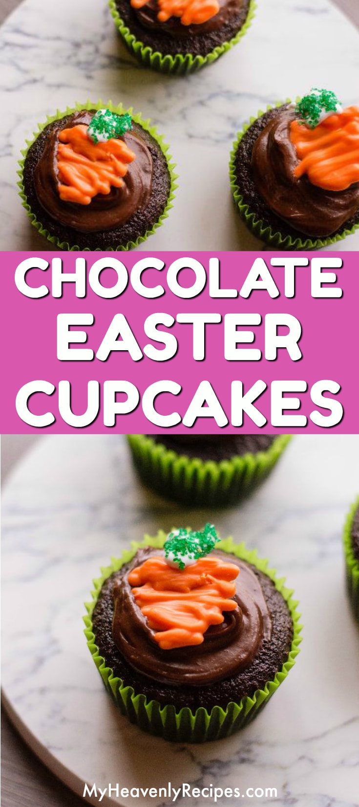 You will LOVE these adorable Chocolate Easter Cupcakes with Carrots! This Easter dessert recipe is topped with chocolate icing and a candy in the shape of a carrot on top of a chocolate cupcake. A fun Easter recipe for kids! #easter #eastercupcakes #easterrecipe #easterdessert
