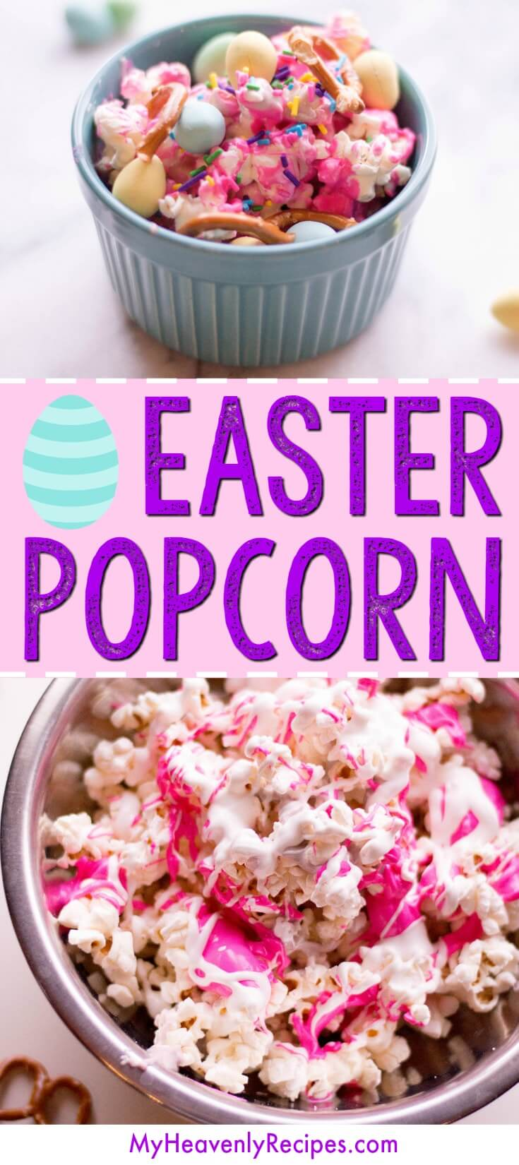 This Easter Popcorn recipe is SO MUCH FUN to make! Make it with your kids, serve it at an Easter gathering, or give it away as a food gift. It's a great flavored popcorn recipe! #popcorn #easter #easterpopcorn #popcornrecipe