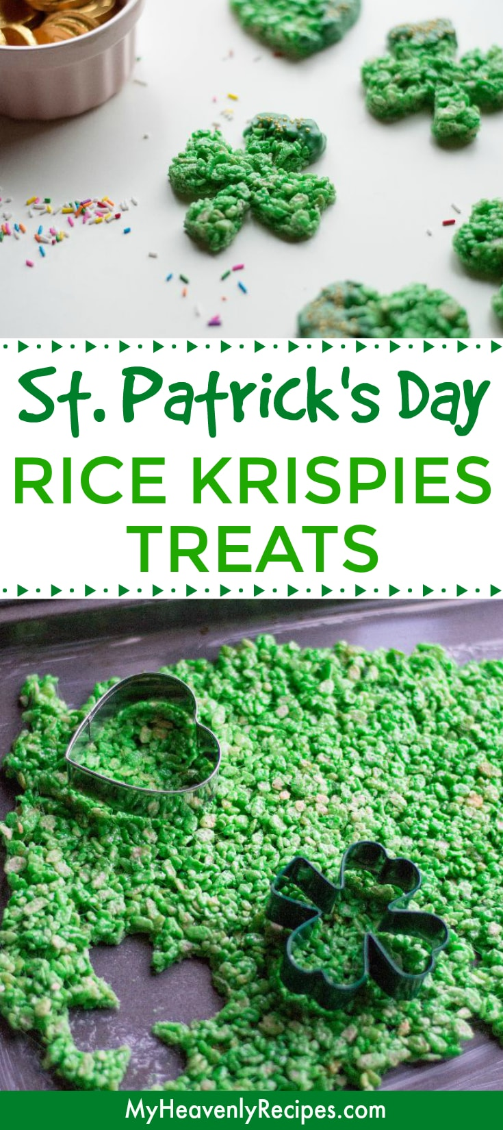 Looking for a FUN and EASY St. Patrick's Day dessert? You'll love making these St. Patrick's Day Rice Krispies Treats! They're so easy to make and are perfect for St. Patrick's Day parties. Great for lunchboxes too! #stpatricksday #ricekrispies #dessertrecipe #ricekrispiestreats