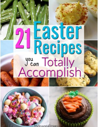 collage of colorful easter recipes including easter popcorn and easter cupcakes