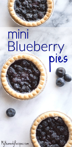 mini blueberry pies featured image on marble background