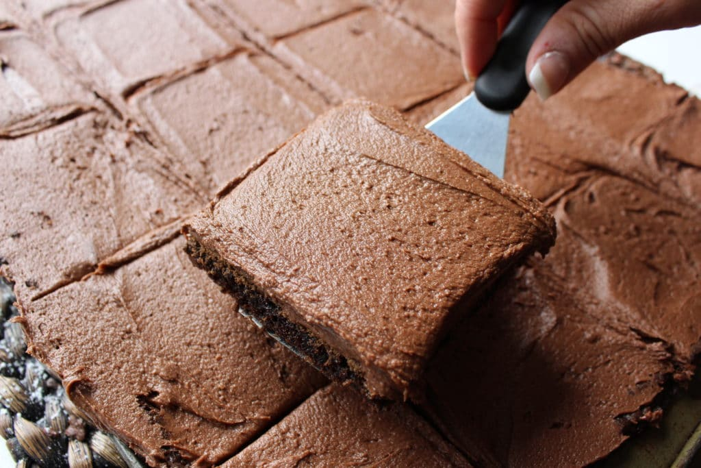 close up shot of fudgy brownie recipe being served with a spatula