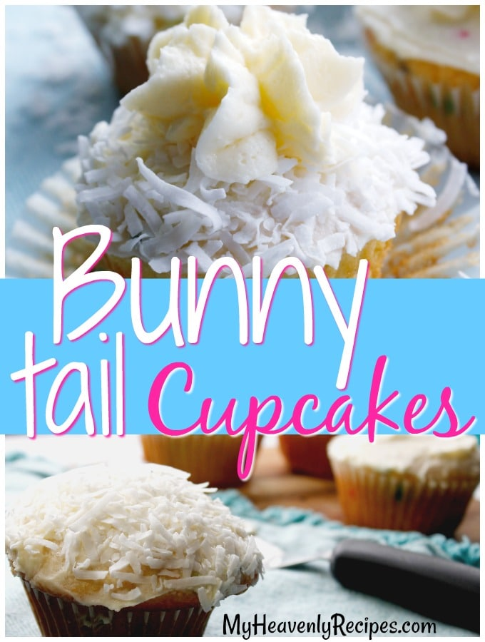 two images of easter cupcakes with bunny tails on them over white coconut flakes