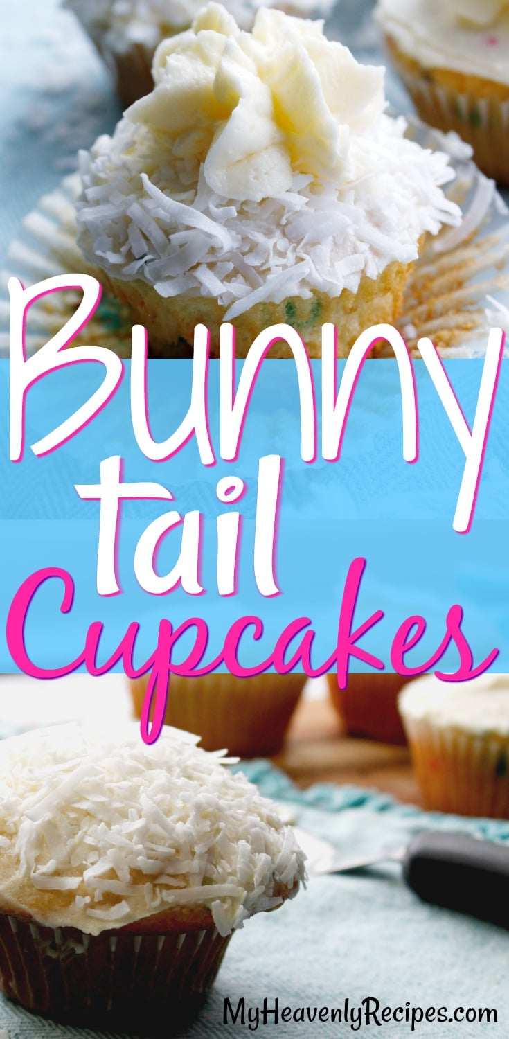 These Bunny Tail Cupcakes are a super adorable addition to your Easter gathering this year or any Easter party! They're EASY Easter cupcakes, so you'll love adding them to your Easter recipes list. #easter #eastercupcakes #easterrecipes #bunnycupcakes #cupcakes