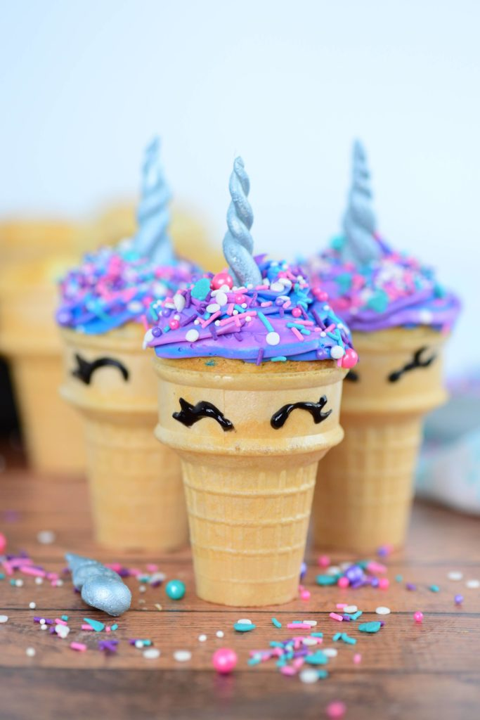 head on shot of unicorn cupcakes made in ice cream cone