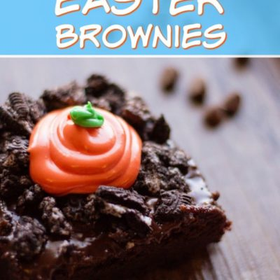 titled photo of Easter brownies topped with crushed Oreos