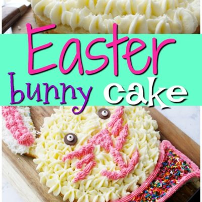 easter bunny cake decorated on a wooden cutting board