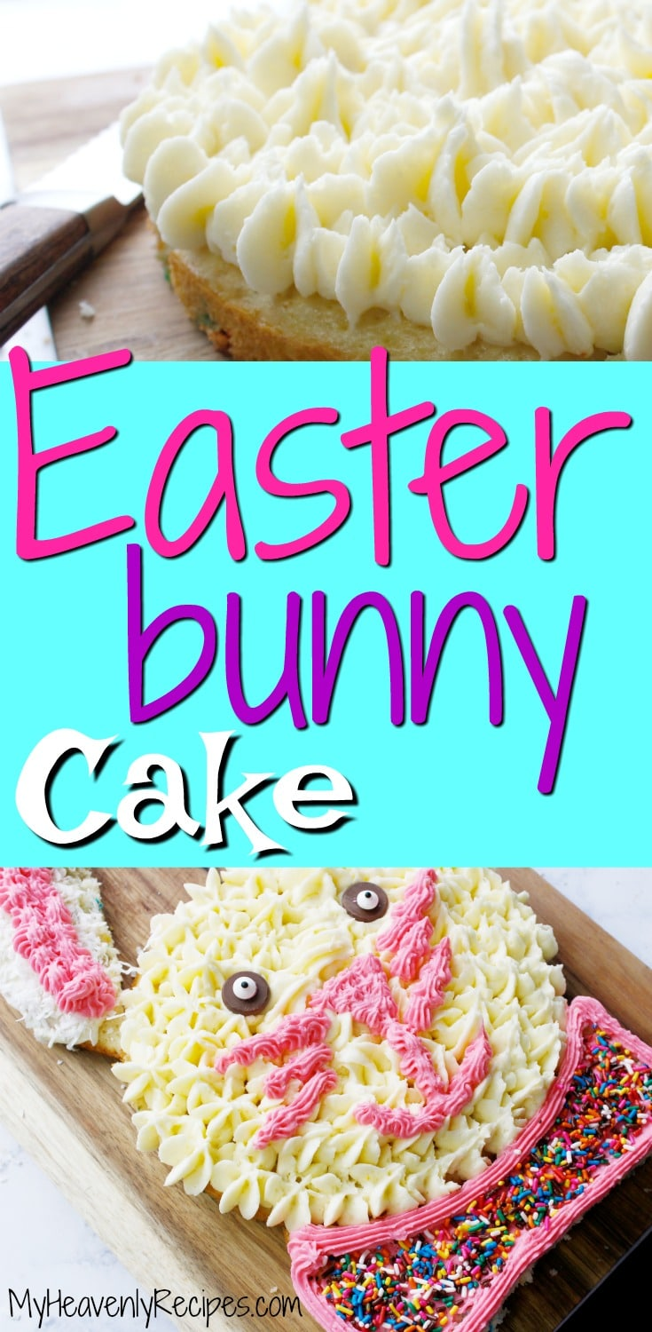 Looking for a kid-friendly Easter activity and kid-friendly Easter recipe? Try this adorable Easter Bunny Cake! It's so easy to make and kids will love decorating it for Easter. A great Easter tradition! Watch our recipe video tutorial, too. #easter #easterbunnycake #eastercake #easterrecipes #cakerecipes