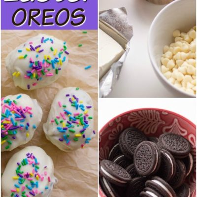 titled photo showing how to make Easter Oreo Truffles