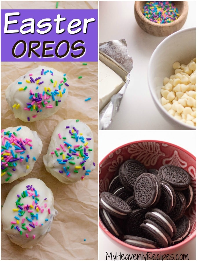 titled photo collage showing how to make Easter Oreo truffles