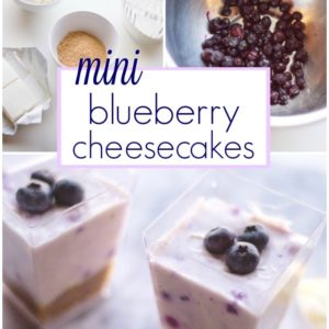 three no bake blueberry cheesecake photos including a closeup