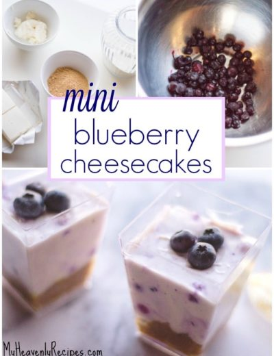 three no bake blueberry cheesecake photos including a closeup