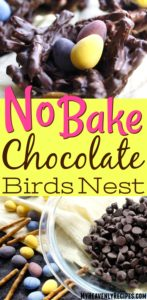 chocolate birds nest recipe with mini tiny candy eggs on yellow linen napkin