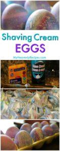 shaving cream eggs dried, sitting in egg carton