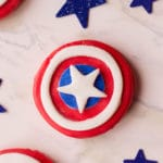 captain america cookie close up on marble surface