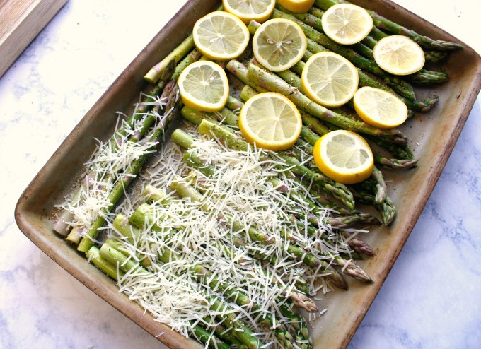 baking sheet for easy asparagus recipes with asparagus and parmesan and asparagus with lemon