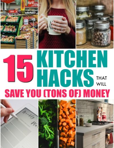 titled photo collage of 15 kitchen hacks