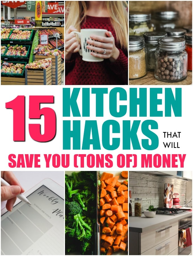 six different kitchen hacks including chopping vegetables and hand writing on meal planner