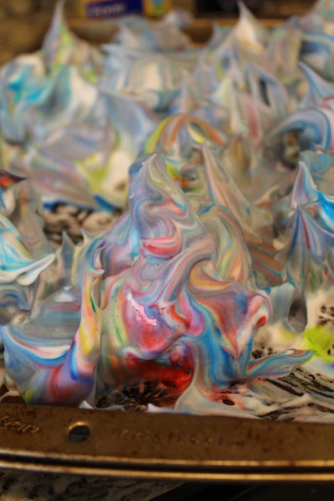 close up of shaving cream mixture with food coloring