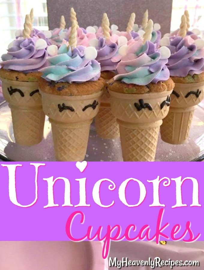 unicorn cupcakes on a party platter with colorful icing on top ready to be served