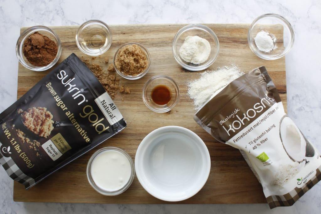 over view top shot of ingredients to keto microwave brownie