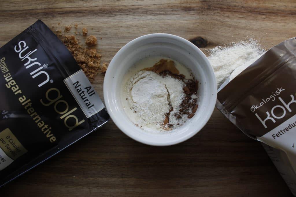 white bowl with sukrin gold sugar and sukrin coconut flour