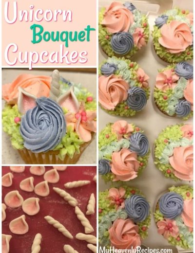 collage of unicorn bouquet cupcake photos including unicorn frosting