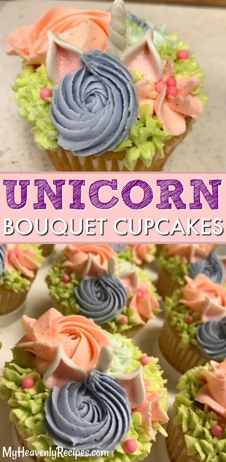 These are the CUTEST unicorn cupcakes! If you love all things unicorn, you will love these unicorn bouquet cupcakes. They're a DIY unicorn craft and DIY unicorn recipe! #unicorn #unicornrecipes #unicornideas #unicorncupcakes #bouquetcupcakes