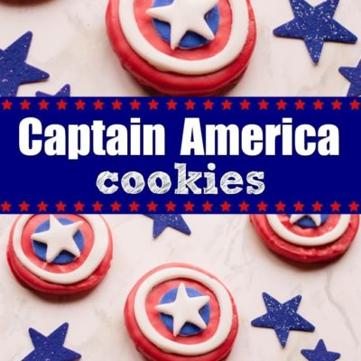 overhead view of captain american cookies next to blue stars