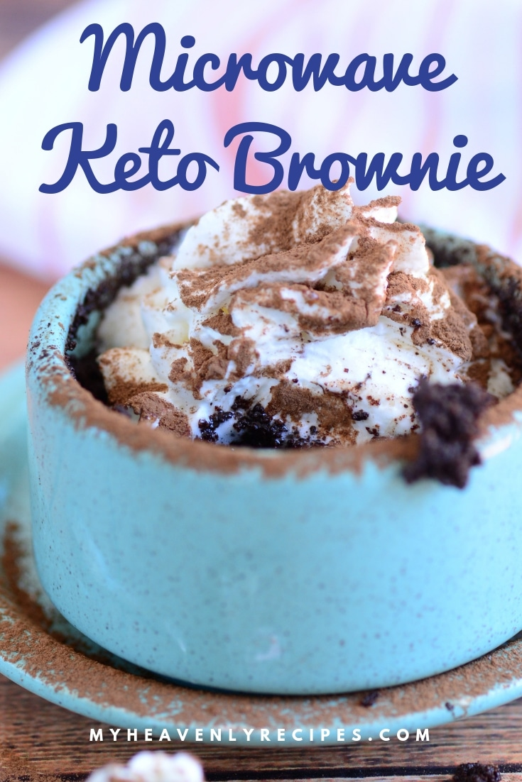Craving a warm brownie from the oven, but on a Keto Diet? Look no further than this tasty keto recipe: a fudgy 2 Minute Keto Microwave Brownie! This keto dessert will make an individual serving that's oh so good! #MyHeavenlyRecipes #keto #ketodiet #ketorecipes #ketobrownie #ketodessert #ketogenicdiet  #lowcarbdessert