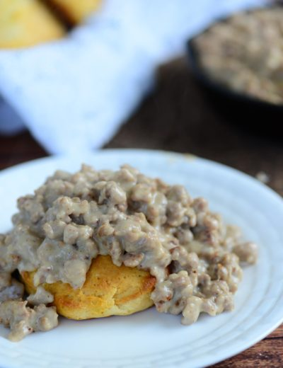 head on shot of biscuits and gravy on plate